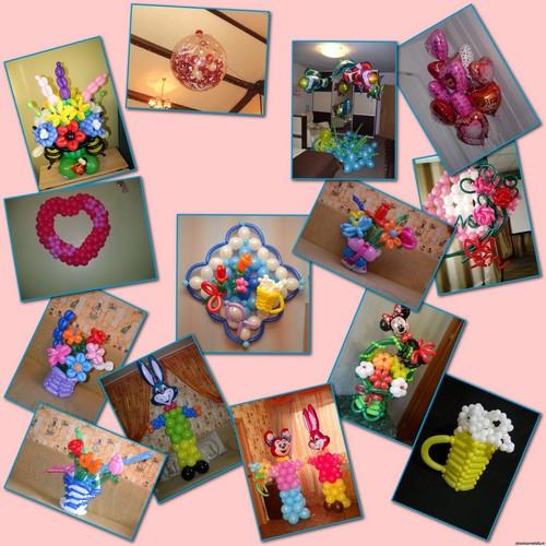Букеты и открытки, фигуры и картины, панно из шаров по индивидуальному дизайну.